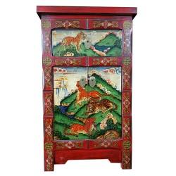 Meuble d'appoint tibétain motif tigres et panthères