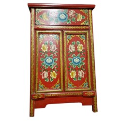 Meuble d'appoint tibétain rouge fleurs