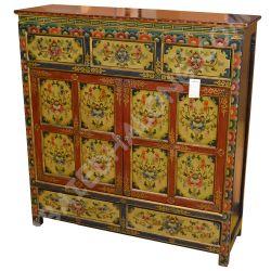 Buffet tibétain 2 portes 5 tiroirs