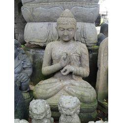 Statue bouddha extérieur sculpté dans la pierre de lave