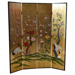 Paravent chinois grues fleurs et oiseaux