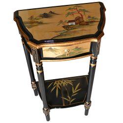 Selette chinoise laquée 1 tiroir dorée paysages