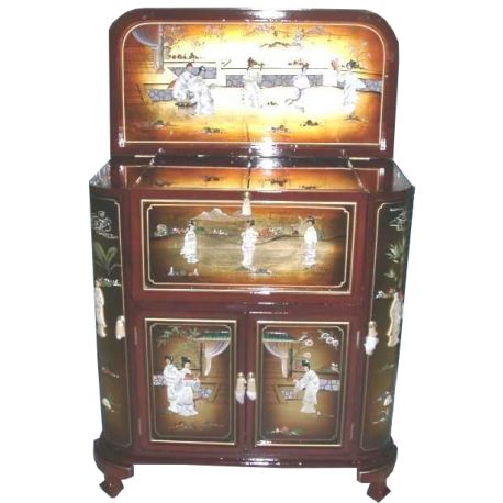 bar chinese lacquered golden brown with inlays meubles. Black Bedroom Furniture Sets. Home Design Ideas