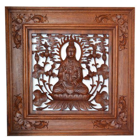 Tableau de bouddha assis en bois