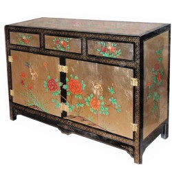 Buffet lacquered 2 doors 3 drawers 135x41x87