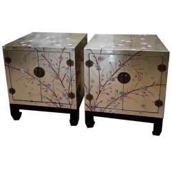 Chevet laqué 2 tiroirs 43x28x61