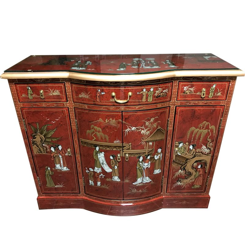 Buffet chinois galb laque rouge personnages meubles for Buffet chinois meuble