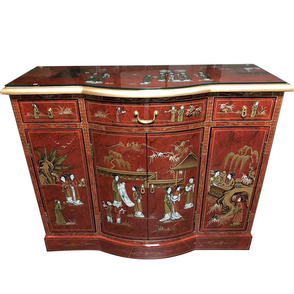 Buffet Chinois Galb Laque Rouge Personnages Meubles  # Meuble Tv Chinois Rouge