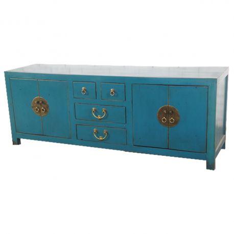 Meuble chinois de t l vision bleu patine meubles for Meuble tele chinois