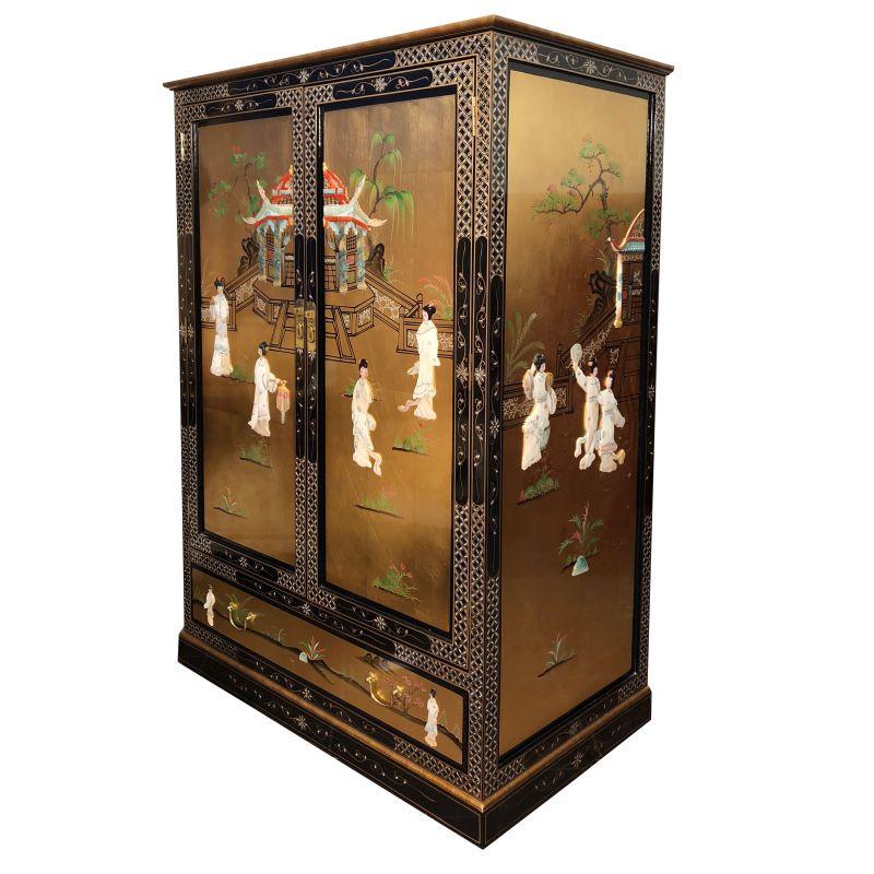 Meuble chinois t l vision laqu 1 tiroir meubles for Meuble tele chinois
