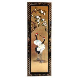 Tableau chinois laqué oiseau grue