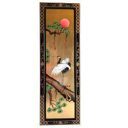 Tableau laqué représentation oiseau grue