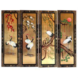 Jeu de 4 tableaux laqués chinois