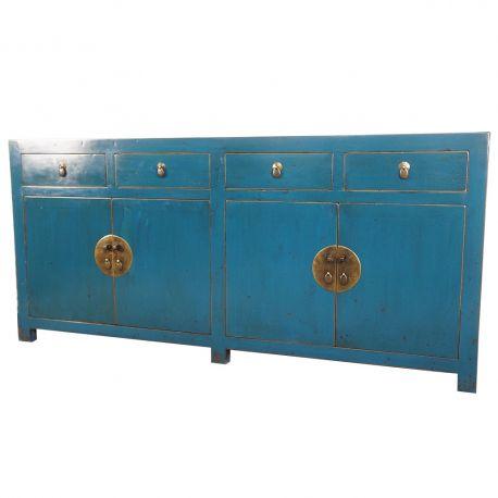buffet chinois bleu 4 portes 4 tiroirs meubles. Black Bedroom Furniture Sets. Home Design Ideas
