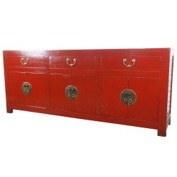 Buffet chinois rouge 6 portes 3 tiroirs