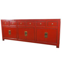 Buffet chinois rouge 6 portes 6 tiroirs