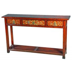 Console chinese yellow 3 drawers