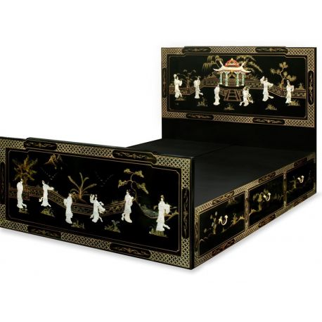 Bed chinese lacquered 140x190
