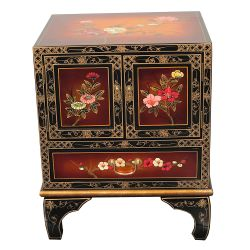 Bedside cabinet chinese lacquer gold brown