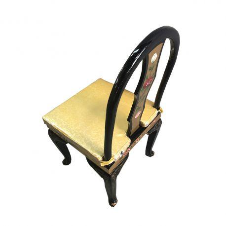Chaise laque dorée dossier arrondi