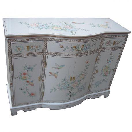 buffet chinois laqu blanc motifs fleurs et oiseaux meubles. Black Bedroom Furniture Sets. Home Design Ideas