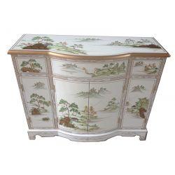 Buffet chinois laqué blanc motifs fleurs et oiseaux