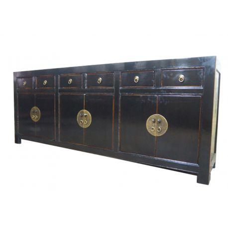Grand buffet chinois noir 6 portes 6 tiroirs