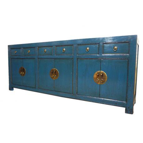 Grand buffet chinois bleu 6 portes 6 tiroirs