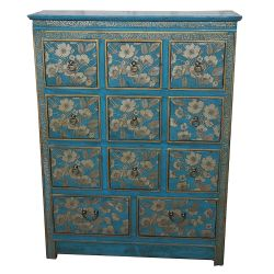 Commode tibétaine bleue