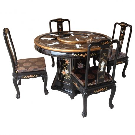 Table lacquered with turntable and 8chaises