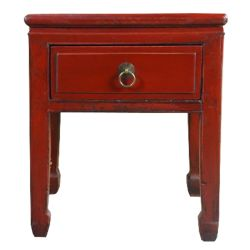 Bedside red chinese 1-drawer