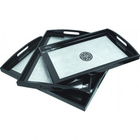 Set of 3 trays lacquered vietnamese