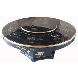 Table chinoise laque noire avec plateau tournant