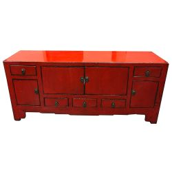 TV cabinet chinese red patina