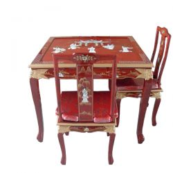 Table, china and 4 chairs
