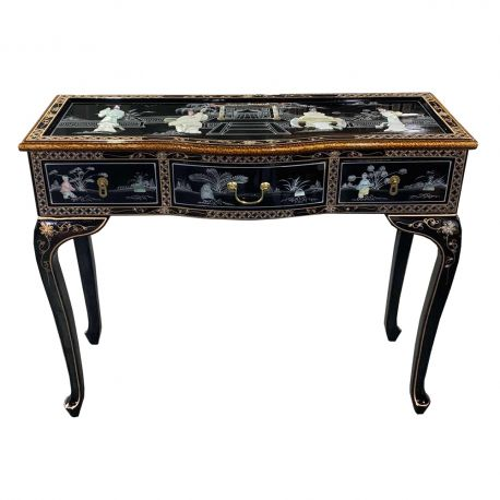 Desk lacquered chinese with 2 drawers without a chair
